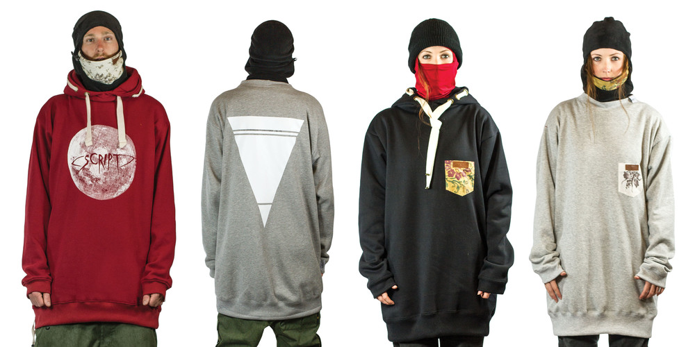Some of the Winter 2013 line of hoodies and crews.