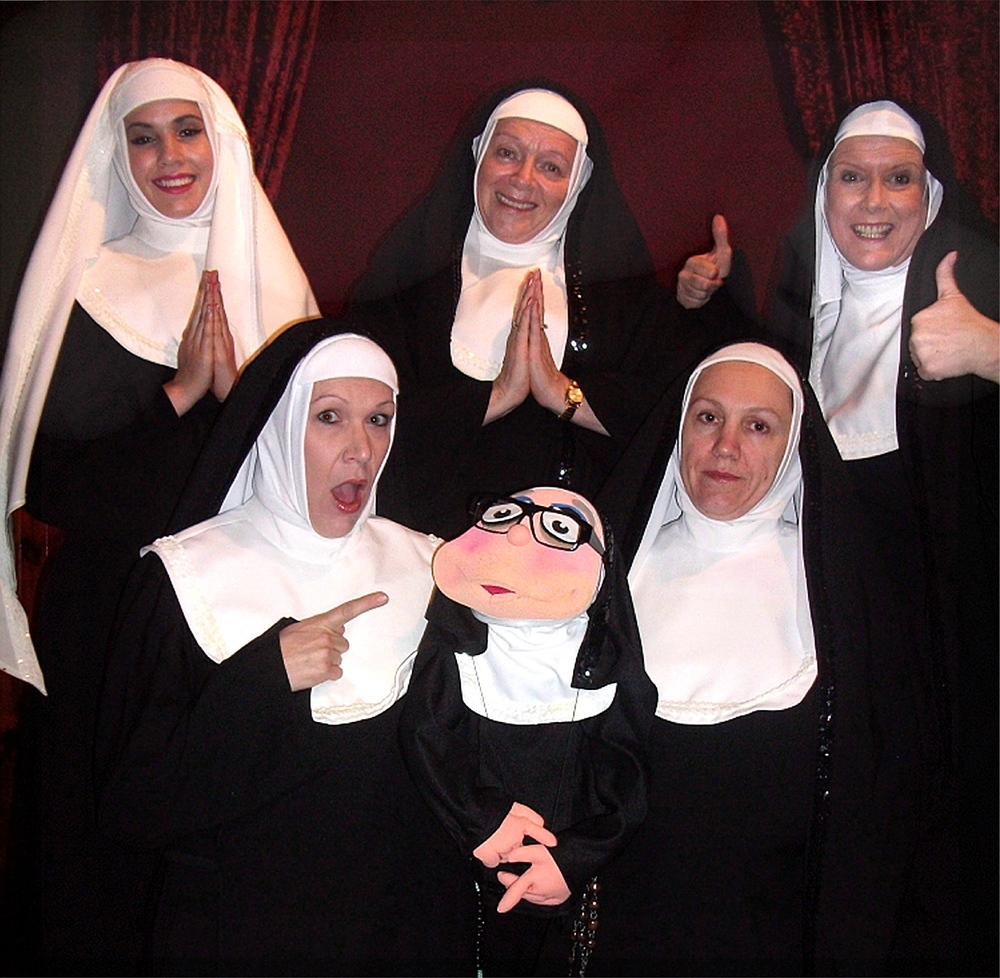 Mahalia Bowles, left, Jen Edwards, Shelley McGinn, Jane Anderson and Alida Chaney – and puppet Sister Marion-ette ­– are appearing in Nunsense II: The Second Coming this June.