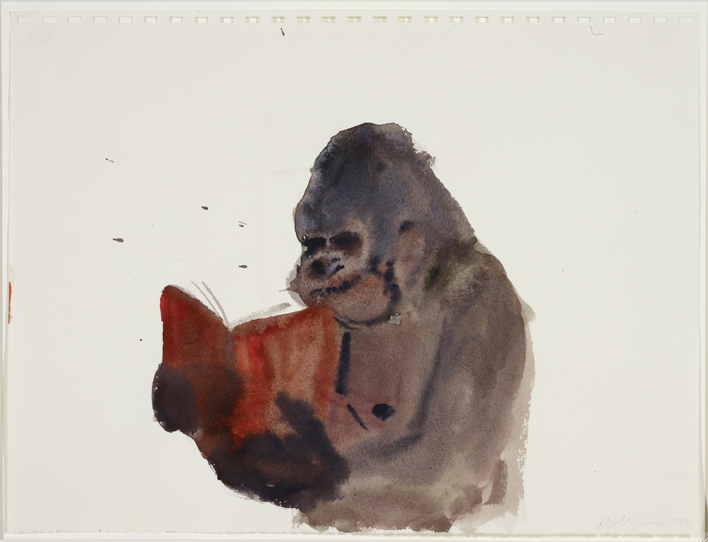 Ricky Swallow      Untitled drawing (Monkey reading) 1998 watercolour on paper 29.1 x 38.6 cm State Art Collection, Art Gallery of Western Australia Gift of John McBride AM, 2007    © Courtesy the artist and Darren Knight Gallery, Sydney