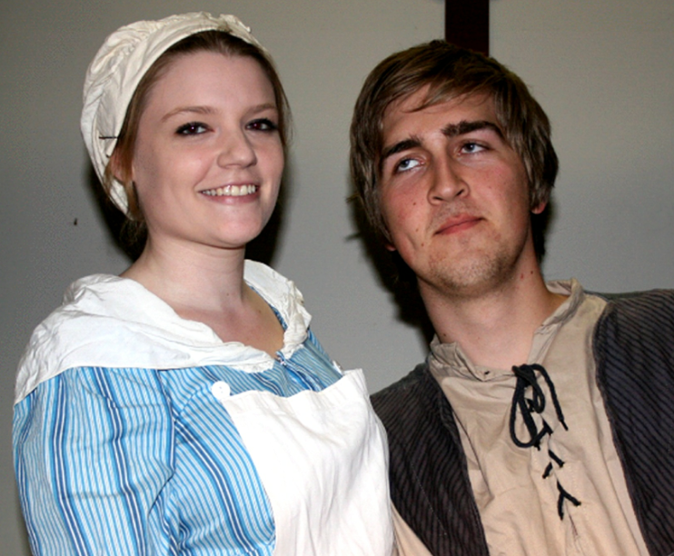 Young love blossoms in Cranford between Martha (Ellie Bawden) and Jem Hearn (Ethan Acott).