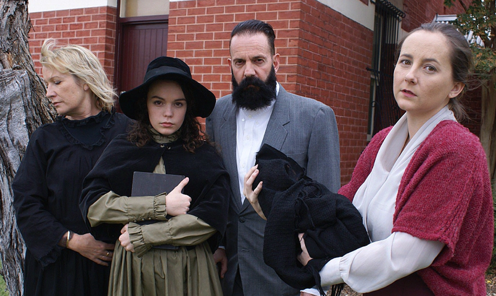 The murdering Makin family – played by Andrea von Bertouch, left, Madeleine Shaw and Angelino Schintu – and Amber Murray (Sarah Cosstick, right) form the story of The Hatpin.