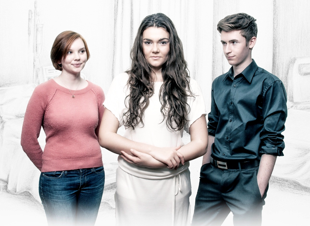 Chelsea Gibson, left, Georgia Rodgers and Liam Longley are taking part in Dramafest with the Garrick Theatre production After Life: The Essential Handbook.