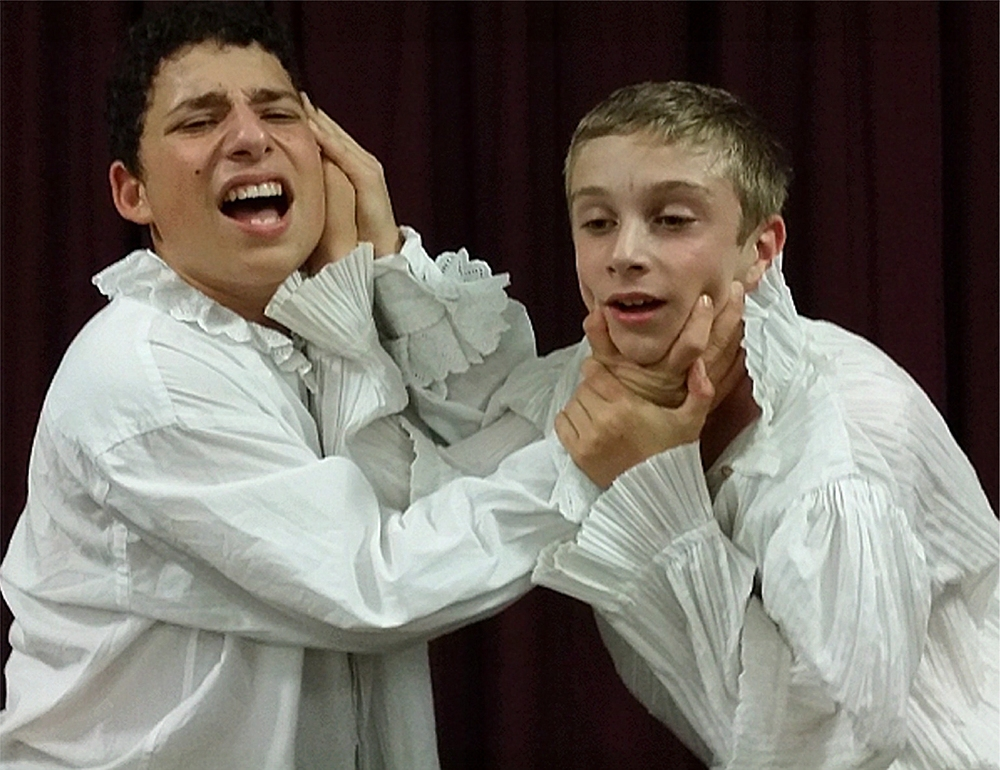 Lucas Ienco, left, is Demetrius and Toby Beck is Lysander in  A Midsummer Night's Dream .