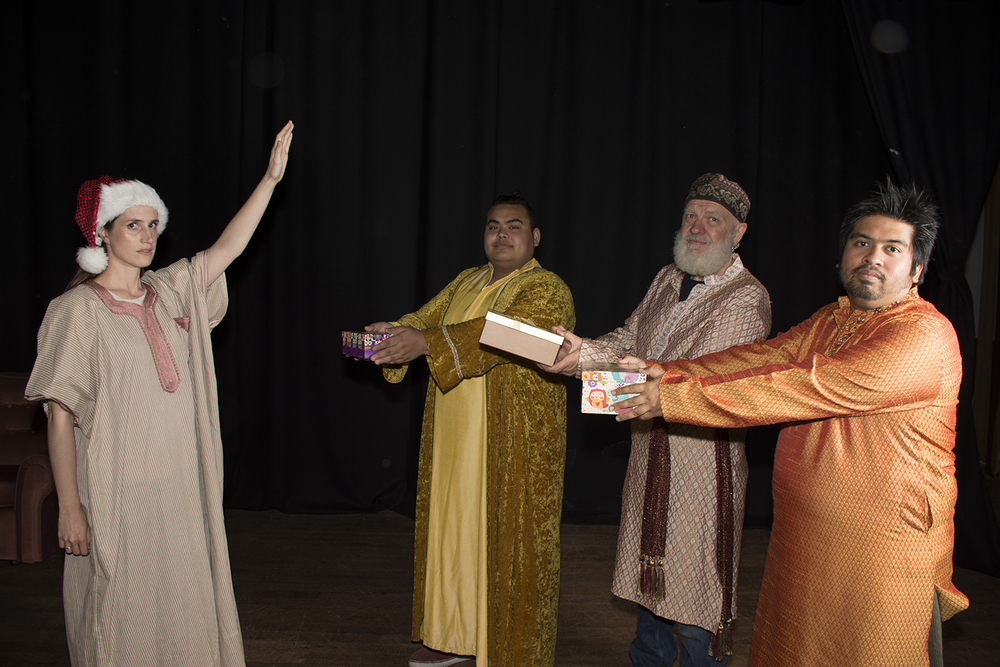 Jesus (Amanda Watson, left) meets the three wise men (Graeme Cross, Callum Calder and Bob Morshidi) in the comedy This is Christmas.