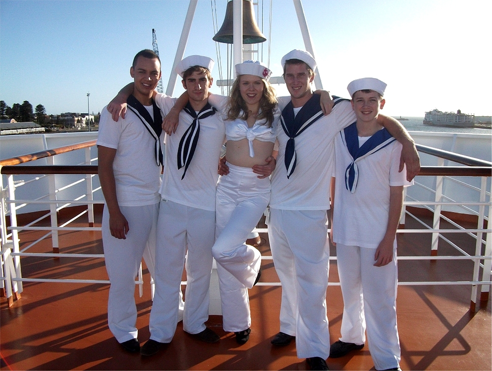 Kieren Morgan-Parata, left, Caleb Robinson-Cook, Meg McKibbin, centre, Mason Fettoe and Blake Torrens are appearing in the Cole Porter musical  Anything Goes.