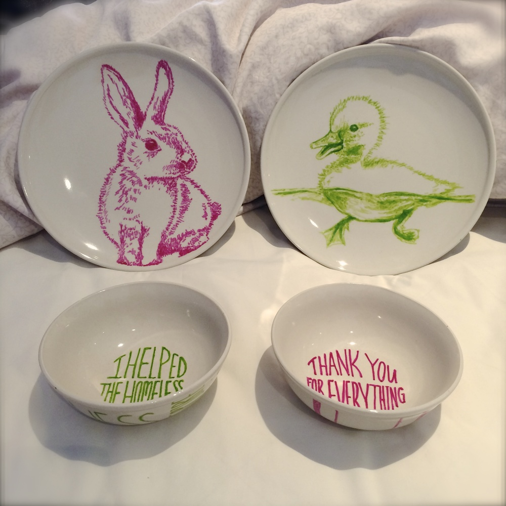 Patches Handmade, hand-drawn art on plates and bowls, image by Yolanda Azis