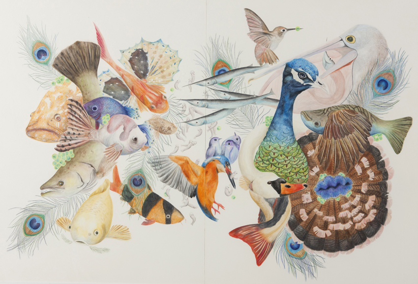 Kartika Zhuang,  Corpus Christi College,  Coexistence 2014,  watercolour pencil on board, 129 x 97 cm