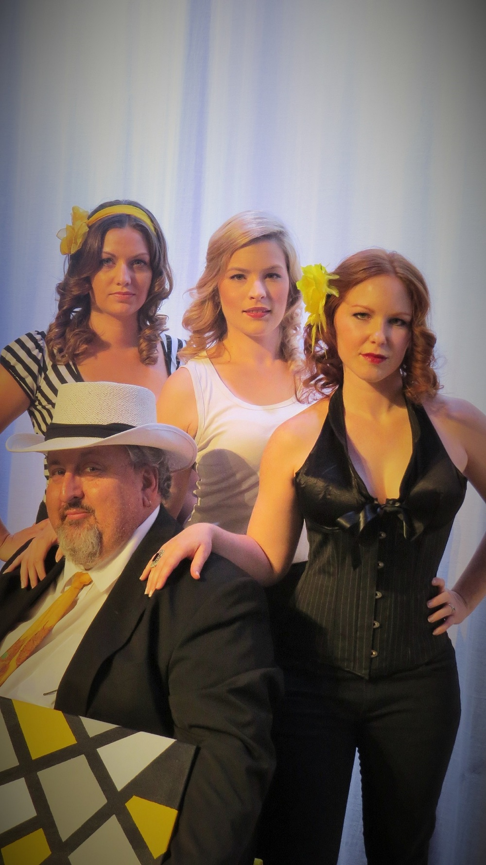 Mr Hughes (Pat McMahon, left), Carla (Maree Andersen), Sylvia (Bethsaida Tapsall and Alice (Katrina Murphy) in  The Temperamental Artist . Picture: Sally Newman
