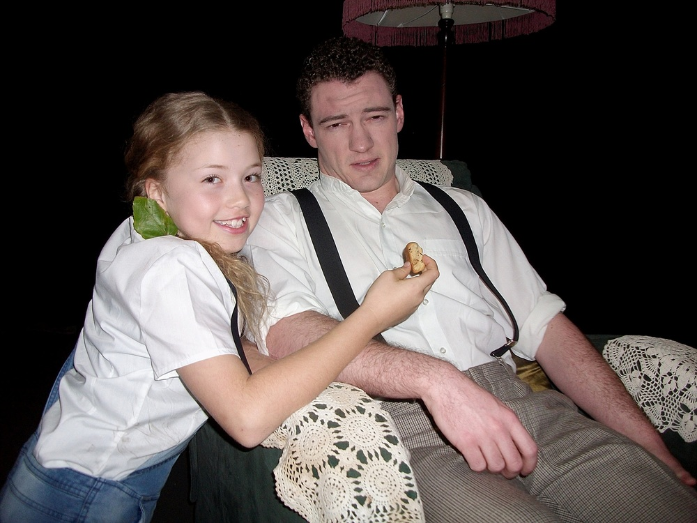 Tomboy Patty (Sienna Freeman) tried to comfort her Uncle Jack (Andrew Philips) with cake in Following The Black Sheep.