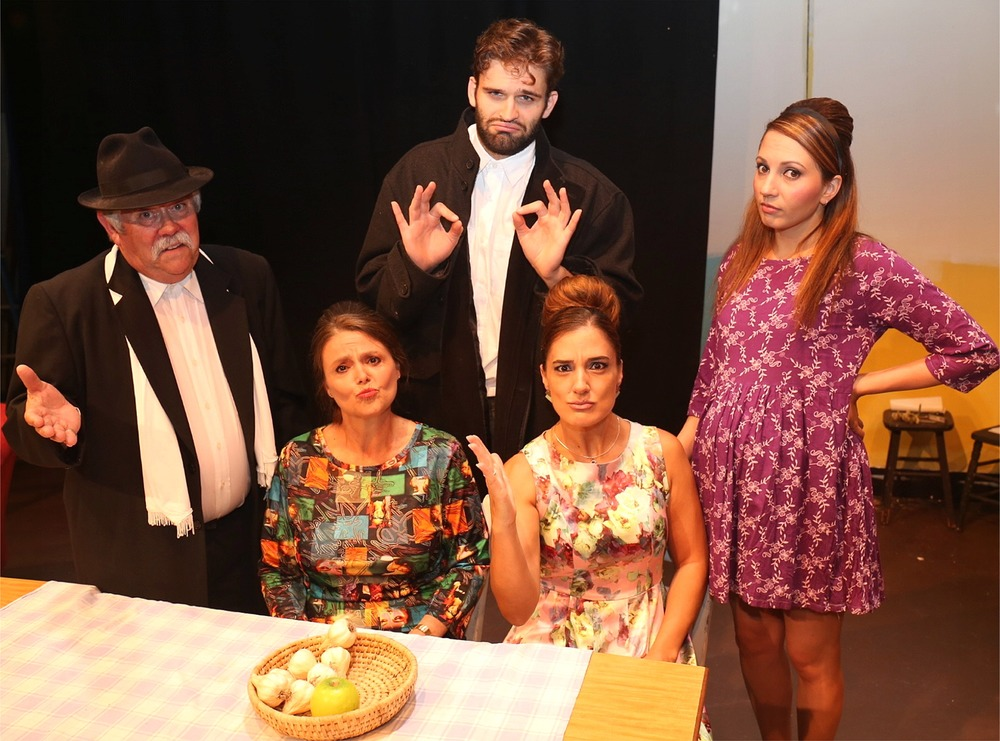 Andronikus (Rex Gray, left), Irena (Charlotte Weber), Stavros (Andre Balzelli), Athena (Vivienne Marshall) and Jenna (Valerie Dragojevic) in  It's All Greek To Me Too!