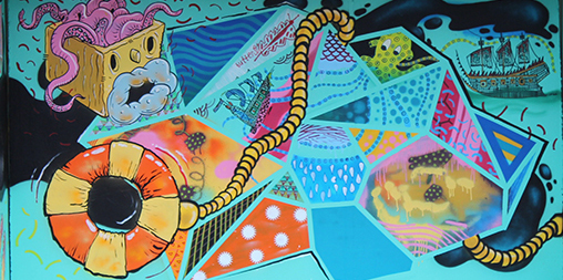 Bilgoman Pool bus shelter detail created in a FUSION Art Project workshop with street artists Dan Duggan and Bruno Booth