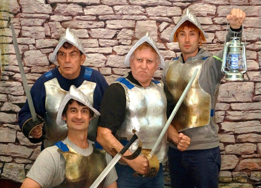 Terry Pratchett's Guards! Guards! features Sergeant Colon (Jim Chantry, left), Corporal Nobbs (Jeremy Smith), Captain Vimes (Ron Arthurs) and Constable Carrot (Paul Davey).