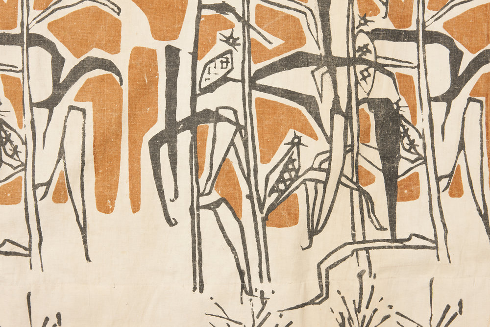 "Helen Grey-Smith Set of curtains designed for ""Meerilinga"" c 1962 (detail) Silkscreen print on cotton, backing and lining State Art Collection, Art Gallery of Western Australia Gift of Meerilinga Young Children's Foundation Inc., Perth, 1990"