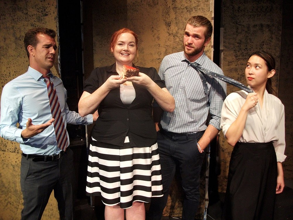 Carter (Steven Hounsome, left), Helen (Brianna Dunn), Tom (Tristan Gorey) and Jeannie (Aileen Chew) in Fat Pig at the Old Mill Theatre.