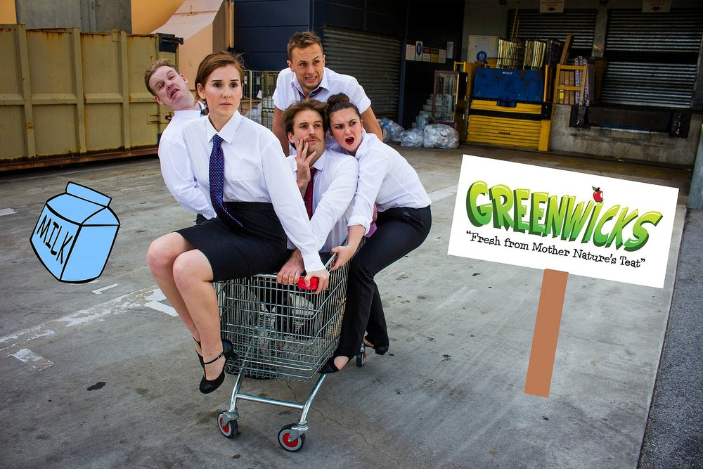 Jacob Anderson, left, Michaela Sheehy, James Marzec, Oliver Bourne and Amy Glendenning are appearing in Greenwicks, a comedy musical about a dysfunctional supermarket. Pictures: Tania Morrow