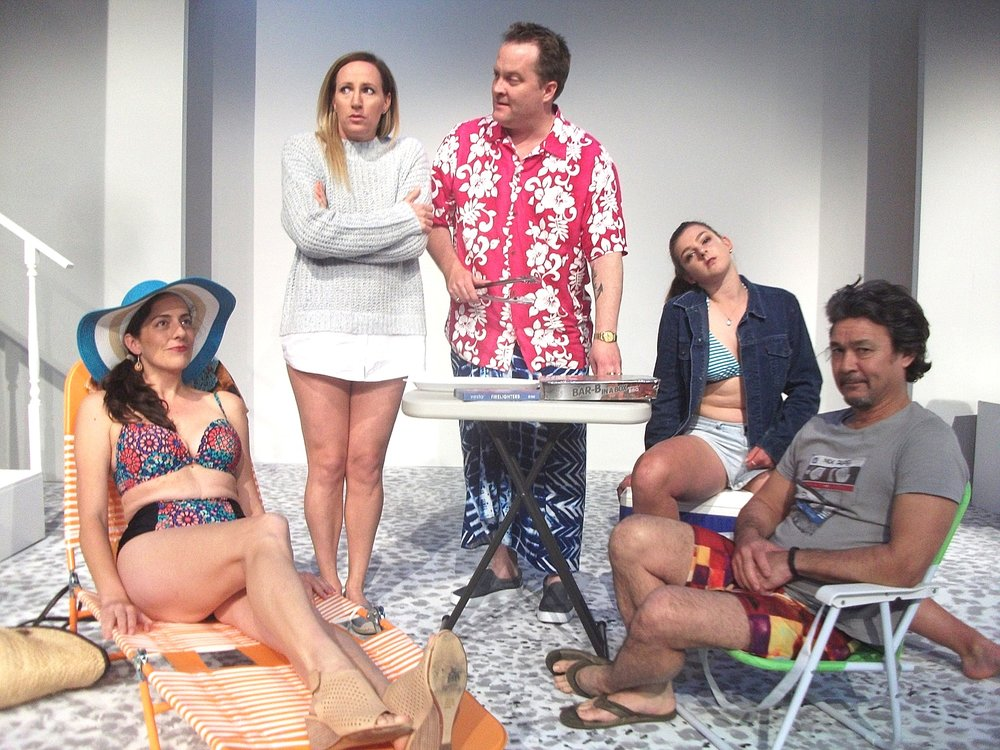 Laura Mercer, left, Cassandra Gorman, Peter Clark, Amy Hoy and Tracy Tye in a beach scene from  Jumpy .
