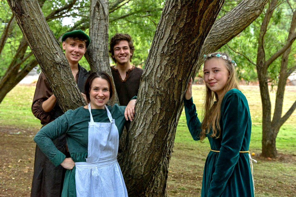 Some of the cast from  Robin Hood: The Truth Behind the Green Tights  –   Tennessee Buti, left, Steph Hickey, Liam Crevola and Georgia Craig. Picture: Zyg Woltersdorf