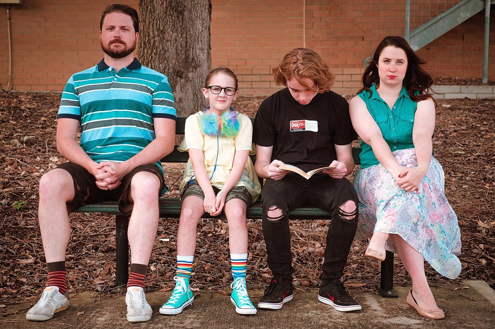 Richard (Mitch Lawrence, left), Olive (Tahli Redgwell), Dwayne (Charlie Martin) and Sheryl (Steph Hickey) in  Little Miss Sunshine . Picture: Guy Jackson