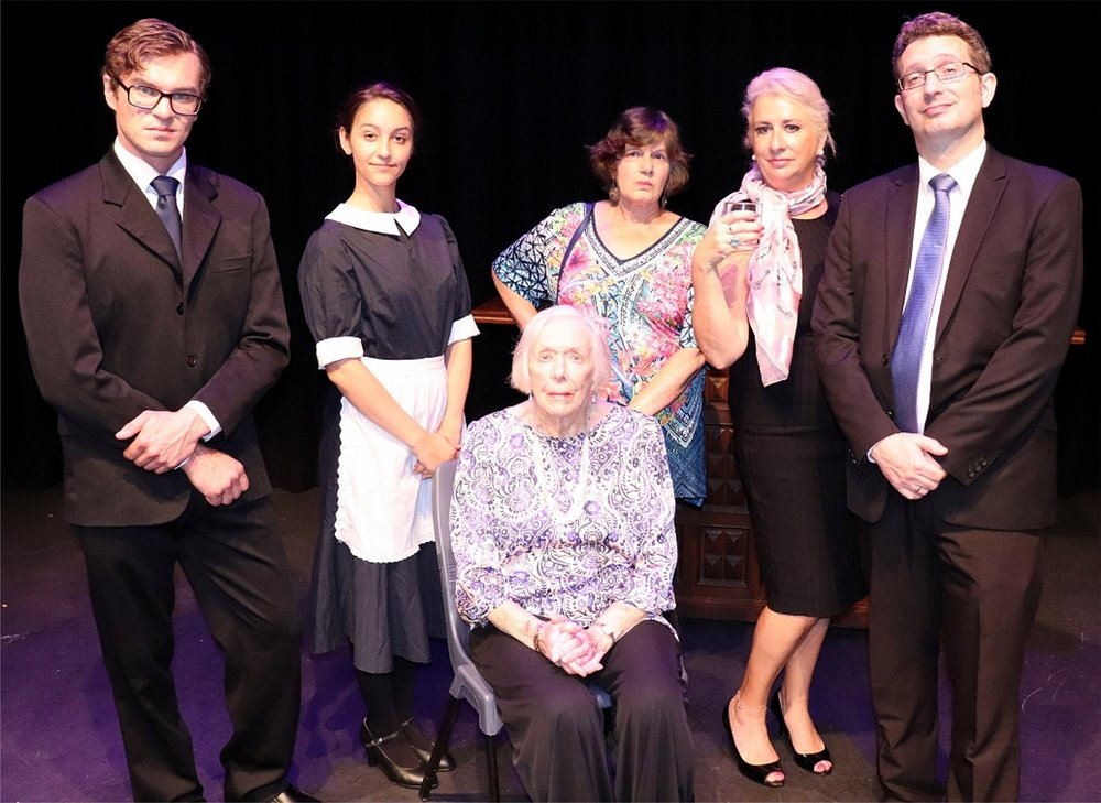 The cast of  Lady Willpower  features Chris Kennedy, left, Rachael Coltrona, Claire Westheafer, Jane Sherwood, Owen Phillips and 91-year-old Ursula Johnson, seated at front.