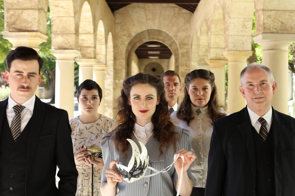 The Merchant of Venice  features Thomas Dimmick, left, Abbey McCaughan, Grace Edwards, Steven Hounsome, Melissa Merchant and Barry Park. Picture by Myles Wright, costumes by Merri Ford