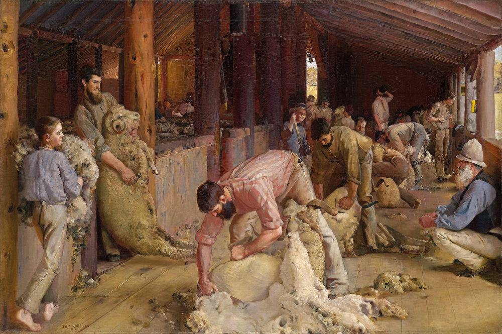Tom Roberts Shearing the rams 1890. Oil on canvas on composition board, 122.4 x 183.3 cm; 170 x 230.4 x 9.5 cm (framed). National Gallery of Victoria, Melbourne. Felton Bequest, 1932.
