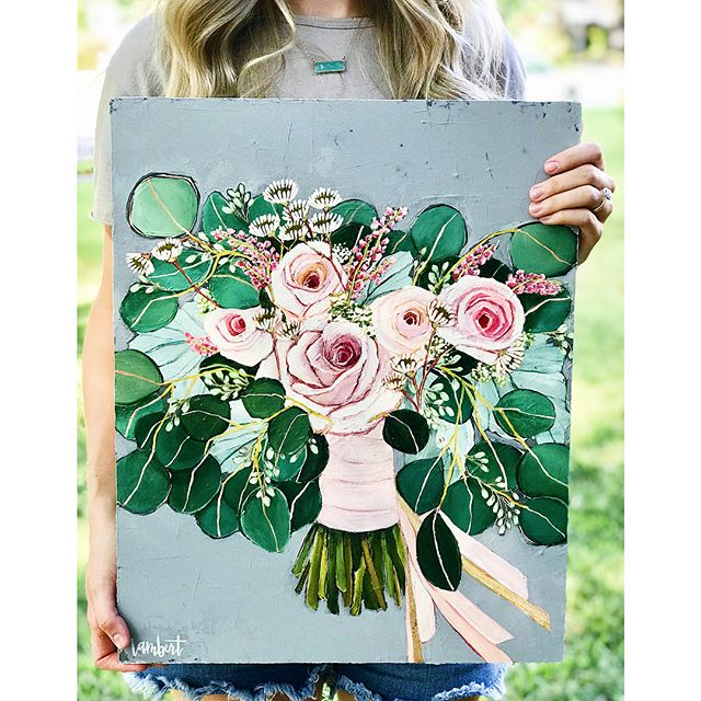 If there ever was a painting I could steal back from a customer and keep as my own....this would for sure be it. Thank you @haydenray1 for asking me to paint this for your bride! 📷: @noniray 💕 . . . . #paintingprocess #studioscenes #colorcrushcreative #walldecor #dsfloral #dailypainting #happyartistmovement #carveouttimeforart #artforyourhomes #doitfortheprocess #mixedmedia #acryliconcanvas #paintpaintpaint #makearteveryday #creativecommunity #creativeprocess #makearteveryday #bridalflowers #makeart2018 #creativeliving #floralillustration #floralartist #dsfloral #IllustrationNow