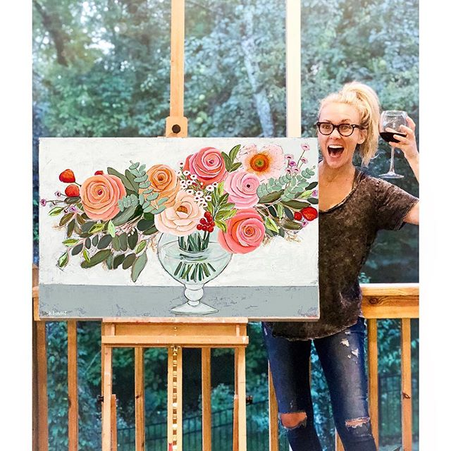 Tonight I am raising a glass to proving that practice doesn't make ya perfect...but it sure as hell makes ya stronger! Swipe 👉🏼 to see one of my first floral (if we can call it that...?) paintings that one of my sweet friends kept many years ago when she obviously should've thrown it away 😂