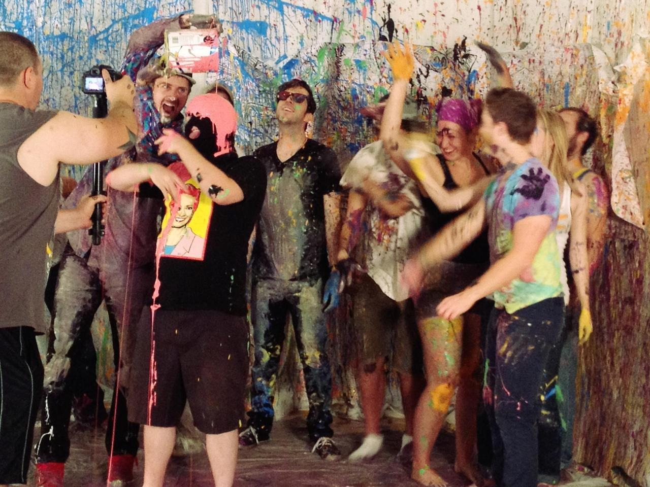 "Here's a little taste from the ""Go High Lion"" video shoot yesterday. So much paint."