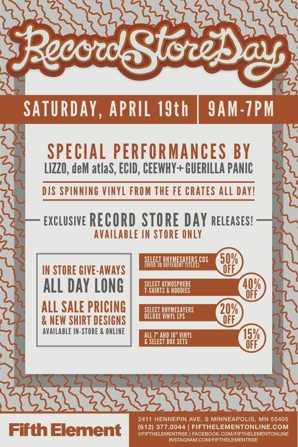 Super hyped to be rocking at Fifth Element's Record Store Day event on Saturday! Awesome line-up. Tons of limited edition vinyl. All ages welcome.