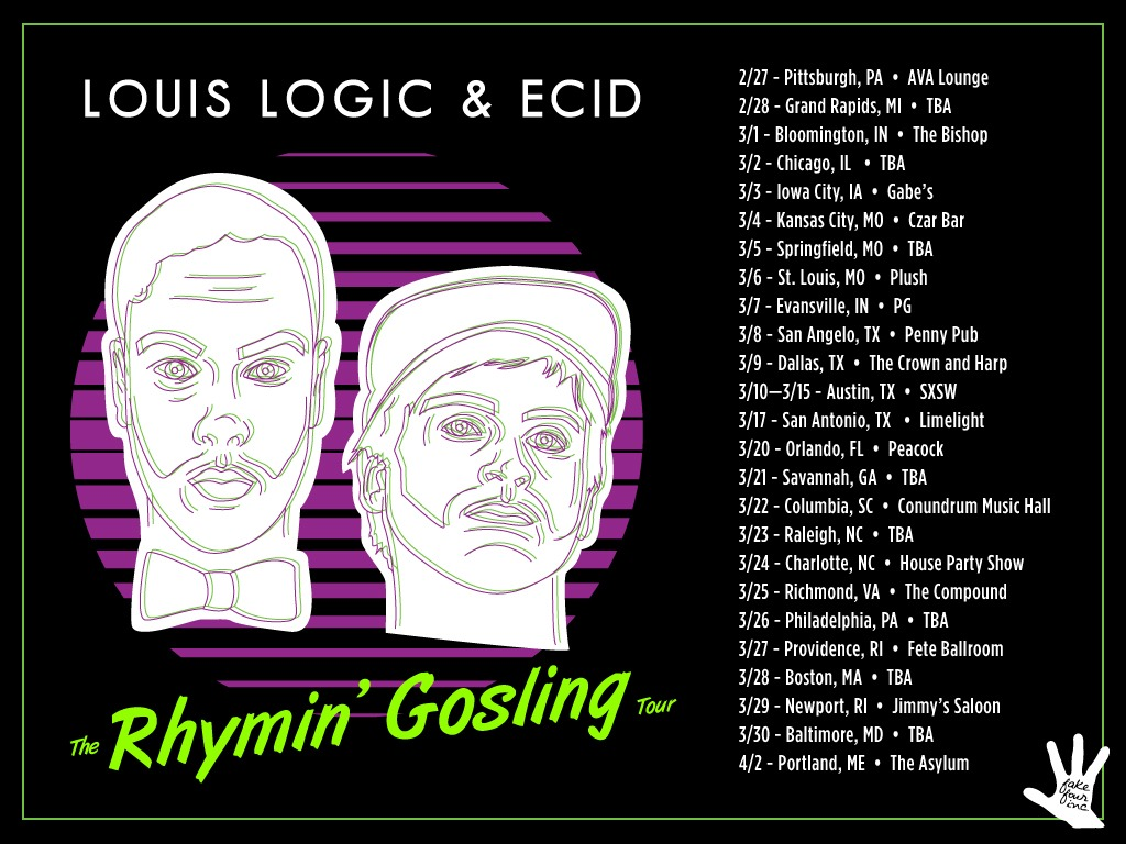 Rap Tour with my Fake Four homie Louis Logic! We are still working on some final confirmations for a few shows. Should have all the proper info in the coming dayz. I am looking for some extra street team help. If you can help in any of these cities please reach out.