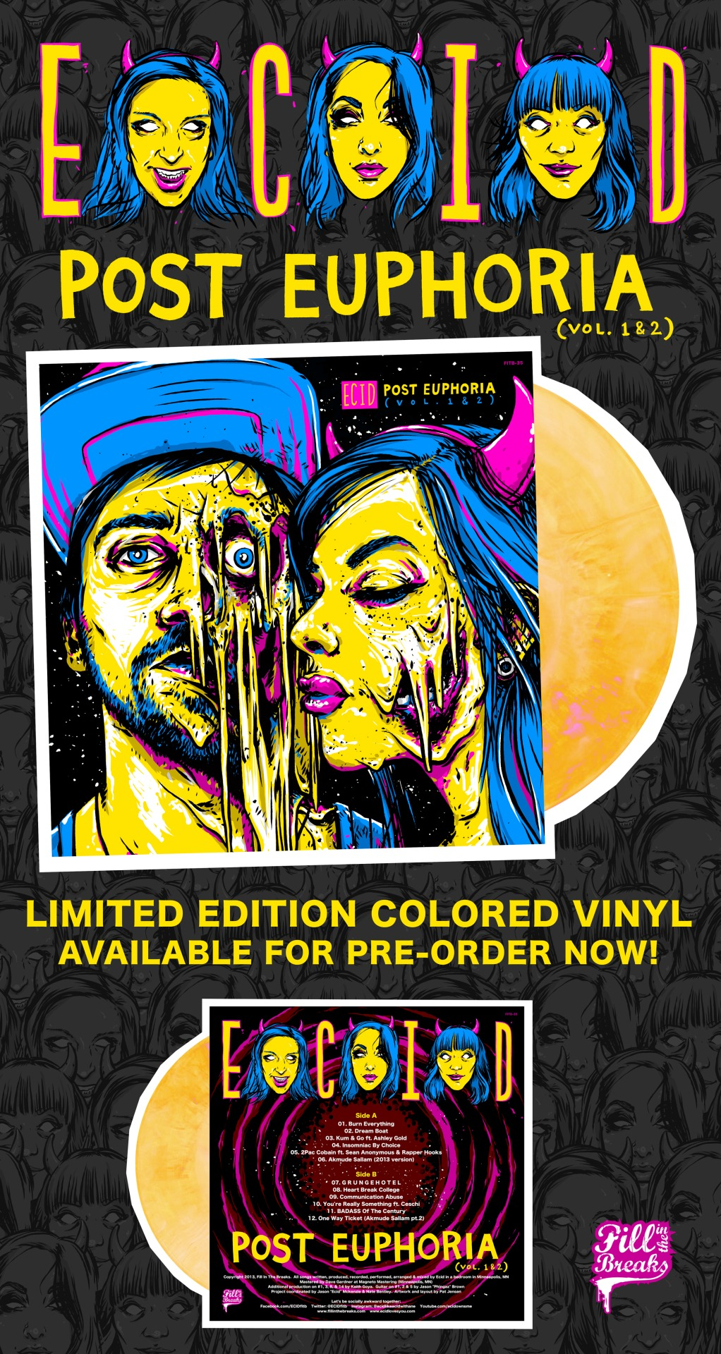 POST EUPHORIA 1 & 2 COLORED VINYL AVAILABLE FOR PRE-ORDER NOW!   There are 3 radical options to choose from!    CLICK HERE TO ORDER YOUR COPY