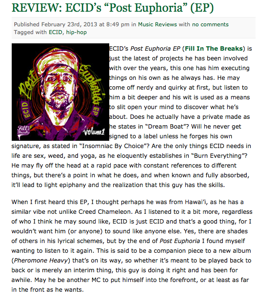 "Reviews of Post Euphoria are already appearing!!!! This one is from ""This Is Books Music"" blog.        http://www.thisisbooksmusic.com/2013/02/23/review-ecid-post-euphoria/"