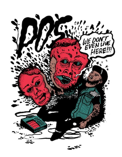 "flowmonroe: ""My Kidneys Are Garbage"" – P.O.S. Benefit Print by Emmanuel Mauléon & Burlesque Prints will be available at the ""We Don't Even Live Here"" album release party at First Avenue this Friday (Oct 26) and on the Doomtree webstore next week.  P.O.S HEALTH SITUATION & TOUR CANCELLATION"