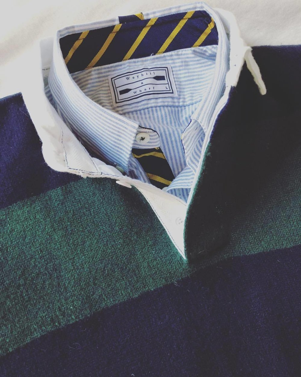 The Preparatory Oxford in Navy & Yellow Wide Repp in University Stripe