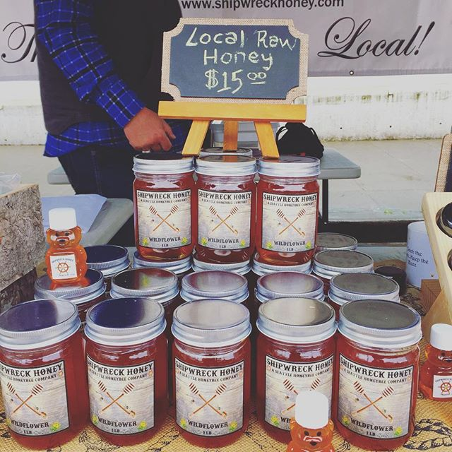Shipwreck Honey made right here by local bees and sold here every Sunday. #farmersmarket #seattle #honey #streetmarket #visitseattle #shoplocal #honeybees