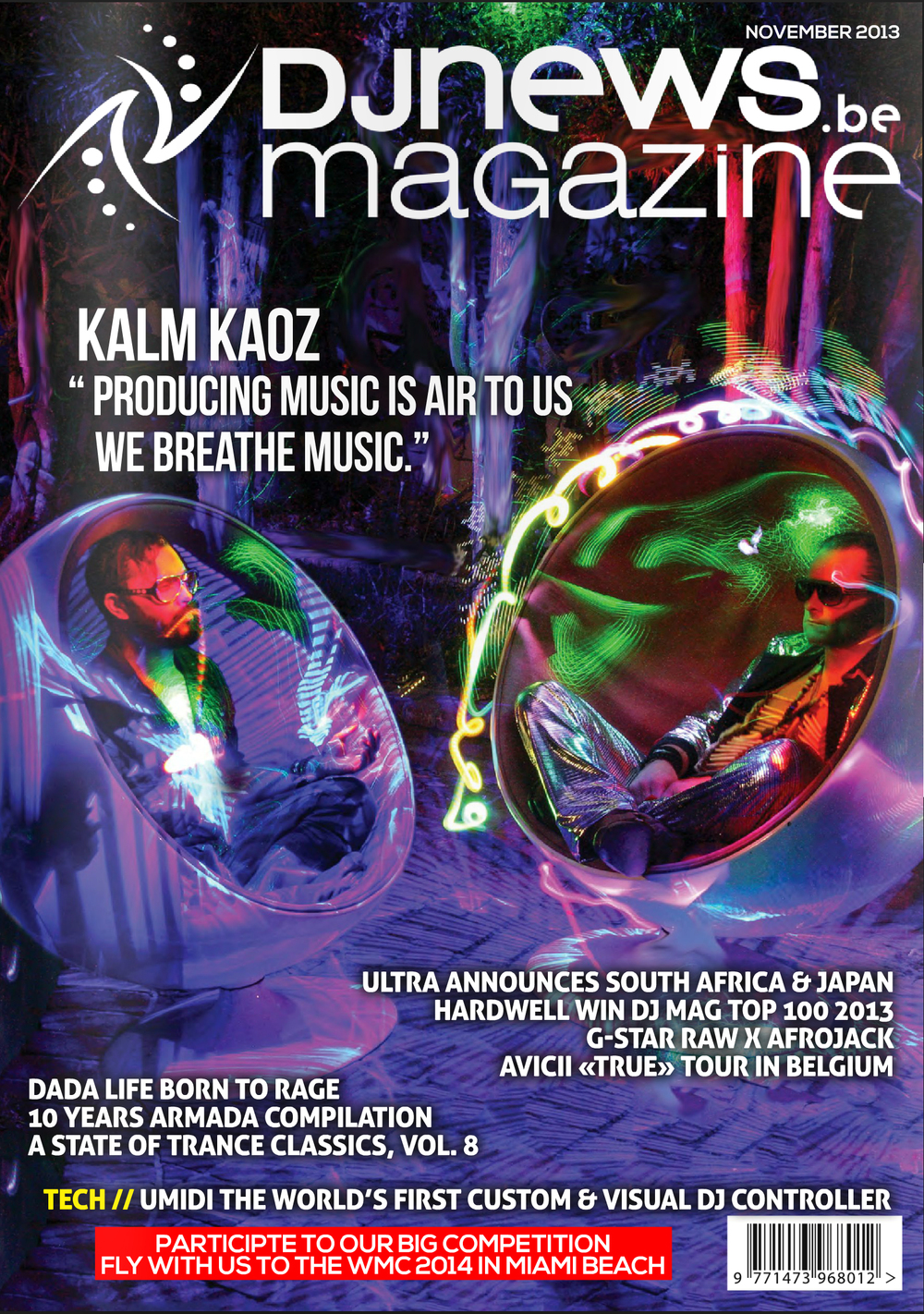 2 Harmonic Light Photos Put together into one AWESOME COVER OF DJ NEWS MAGAZINE!! November 2013