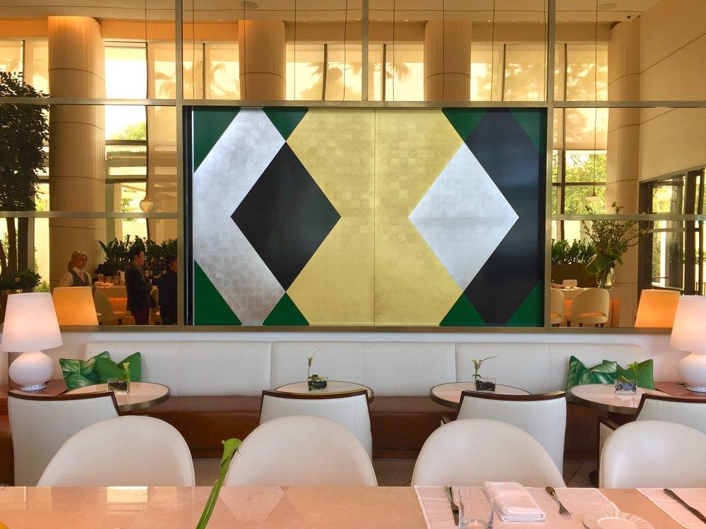 Custom doors for Jeans Georges Restaurant, Beverly Hills Waldorf Astoria / 2 x 5.5' x 6' / Acrylic paint, aluminum leaf, and 22 karat gold leaf