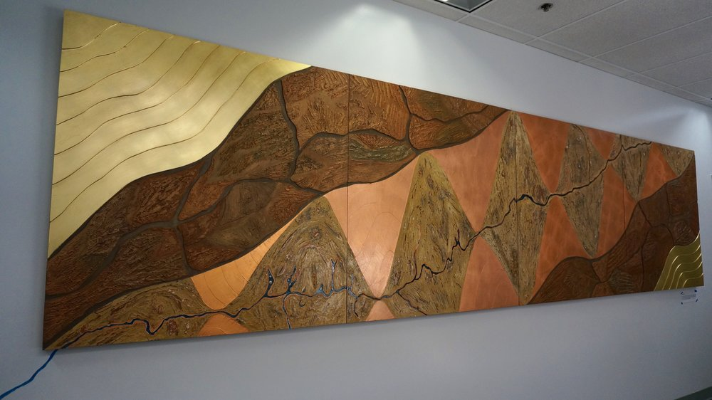 Collaboration with NASA's Jet Propulsion Lab illustrating the most drought prone portion of the Colorado River, water source of 1 in 10 Americans / 4' x 16' / Mixed media