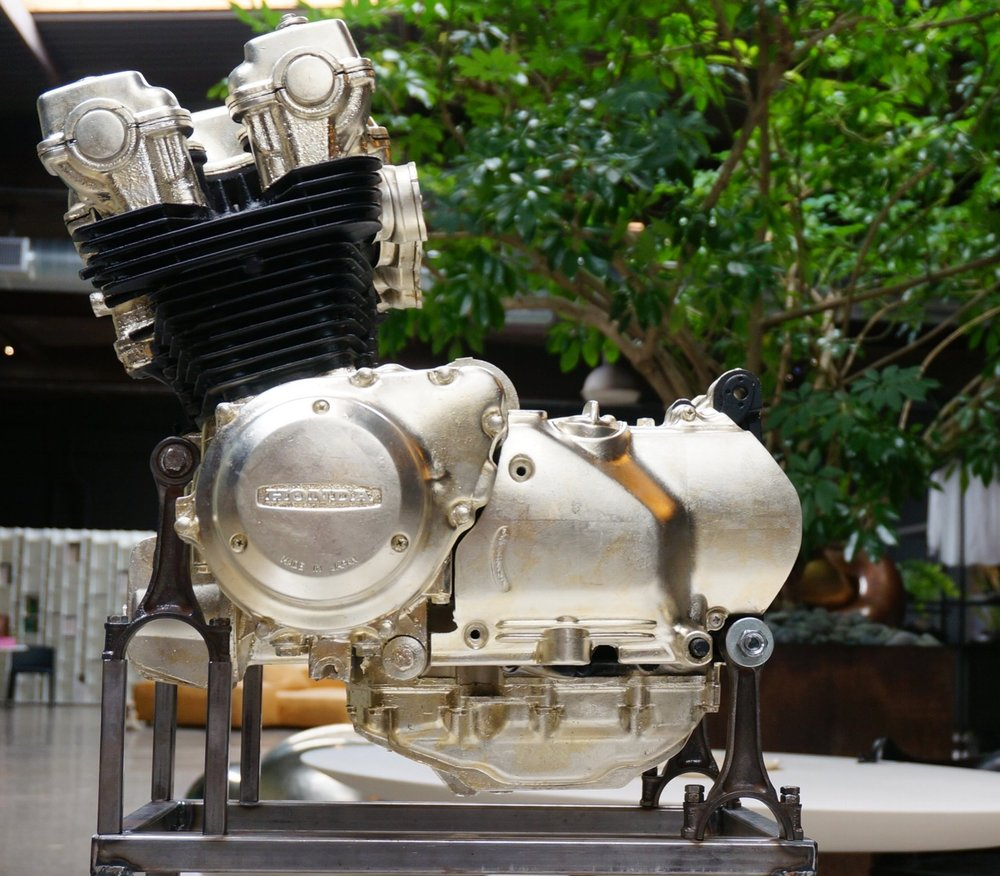 1979 Honda CB750 Motorcycle Engine in white gold leaf and matte black acrylic