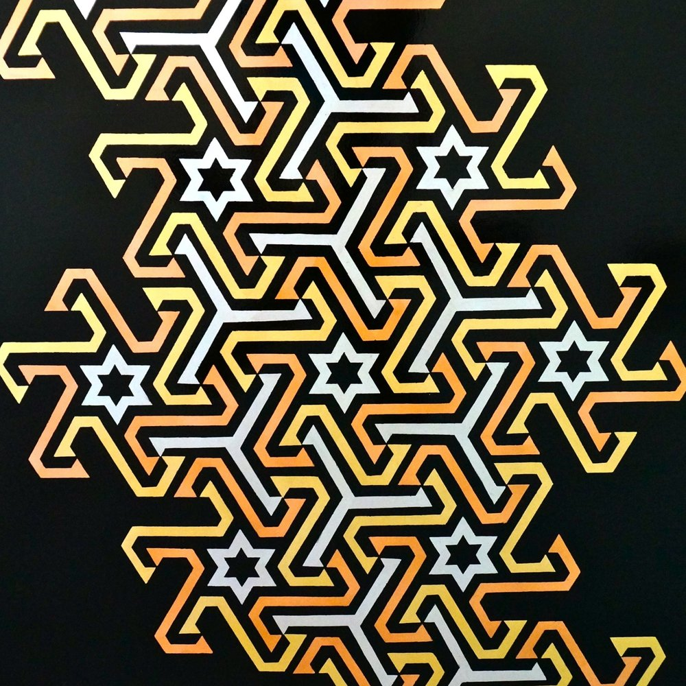 'As Above, So Below' / 4' x 4' / Aluminium, Gold & Copper Leaf on Black Gloss Sprayed Eco-Ply