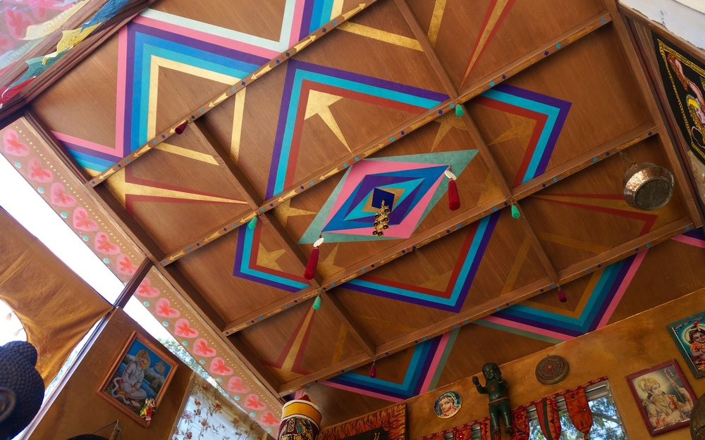 Custom painted ceiling for private sanctuary, Los Angeles, CA