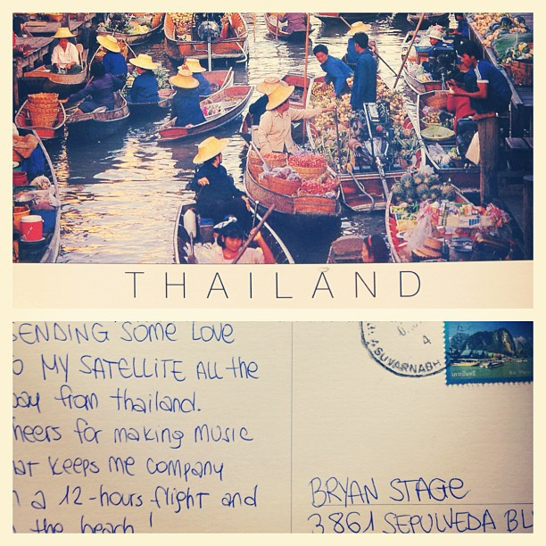 Awesome postcard from Thailand! Thai people apparently wear a lot of beige hats. Thanks, Kristina!! #fanmail #bowtiearmy