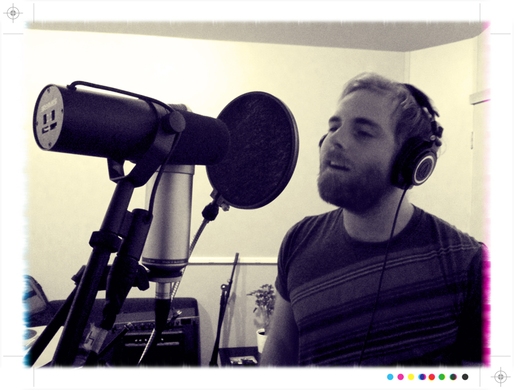 Andy working the vocals during recording
