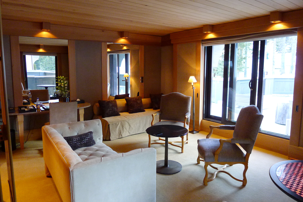 The living area.  The view was amazing and the balcony through those glass doors overlook the main ski trail!