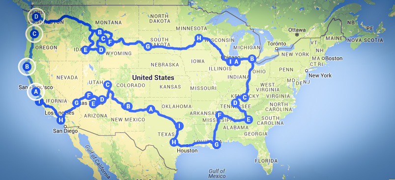 Our epic US road trip (map done on googlemymaps)
