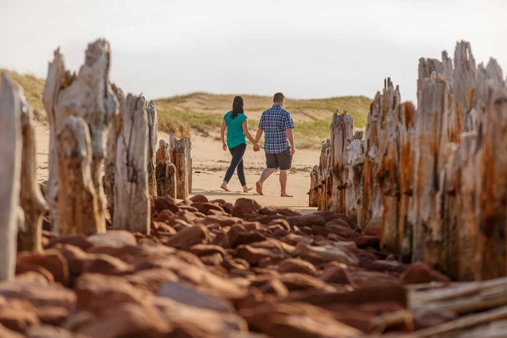 pei beach engagement session Morell