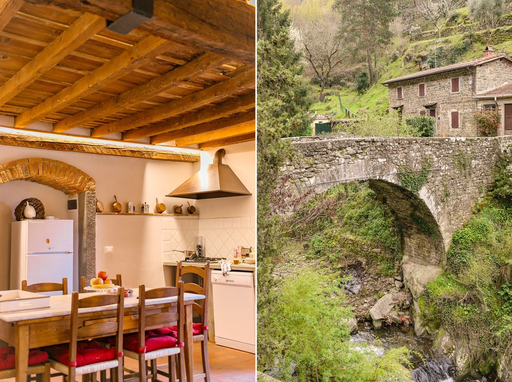 My lovely kitchen and an old bridge in walking distance of the home.