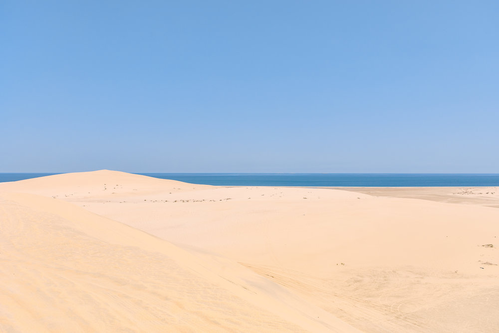 Our guide ripped around the sand dunes, teetering on the edge of banks, driving backwards, and doing his (successful) best to scare us.