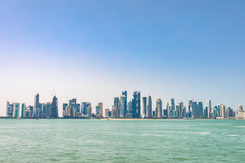 The futuristic skyline of Doha.