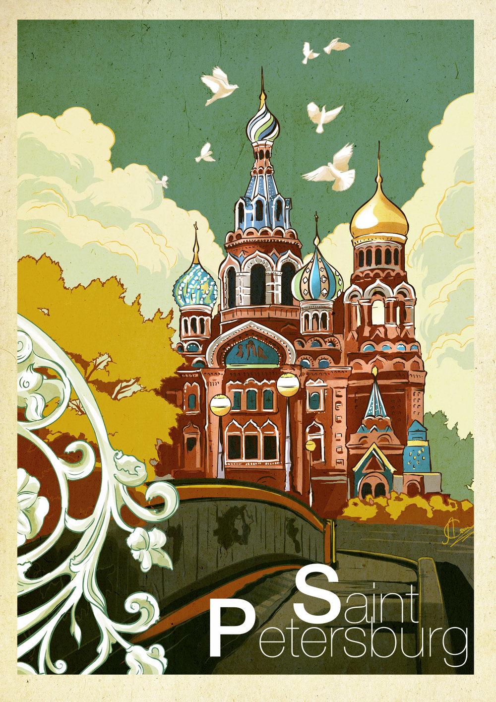Saint Petersburg vintage poster anna sokolova art art